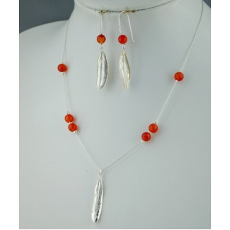 Sterling silver chain necklace with semi precious stone and 1 olive leaf Orange Bead
